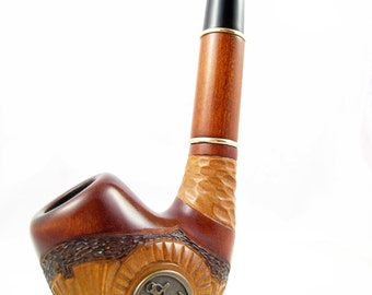 "Sale Exclusive Pipe ""ANCHOR"", Tobacco Pipe - Smoking Pipe Engraved. The Best Gift Hand Carved, Limited Edition"