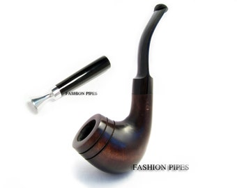 Set - Pear Root Wooden pipe/pipes Tobacco Pipe Classic Bent & Tamper. Wood Pipe, Smoking Pipe Fits 9mm Filters - Limited Edition.