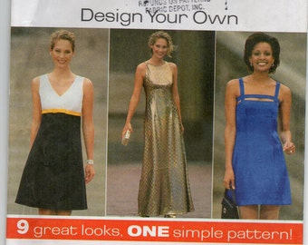 Empire Waist Sleeveless Dress With Bodice Variations Shoulder Straps Size 4 6 8 Sundress Sewing Pattern 1997 Simplicity 7510