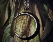 Moon Necklace - Gothic -  Black Moon Pendant - Crescent Moon Pendant - Moon Jewelry - Cresent Moon Shape Necklace -  Bronze Metal