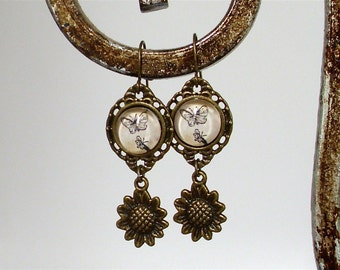 Butterfly and Sunflower Dangle Earrings in Brass - Cottage Chic