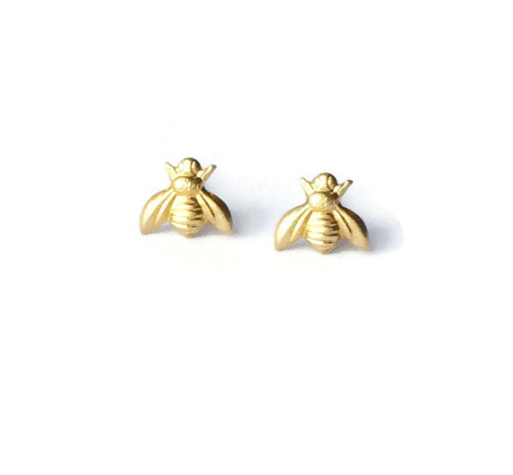 gold bee earrings studs by wildjuniper on etsy