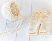 Cream Newborn Chunky Knit Trousers & Bonnet Set - Merino Wool, UK Seller - Ready to ship!