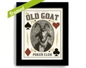 Poker Player Gift Vintage Framed Art Basement Bar Old Goat Plays Poker Room Gift for Dad Bar Art Gambling Wall Art