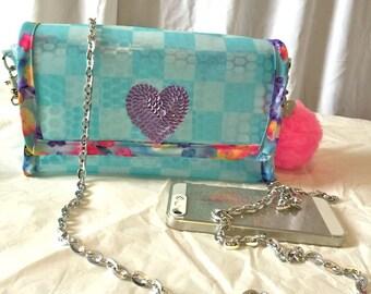 Kawaii Transparent Blue 3D Vinyl Handbag Purse Cross-body bag with Pom Pom Keychain