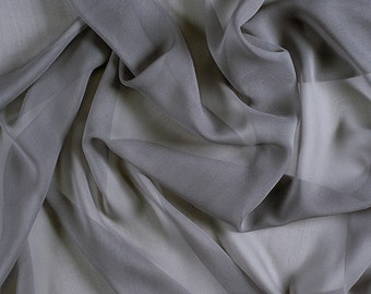 "54"" Wide 100% Silk Chiffon Silver Gray By the Yard"