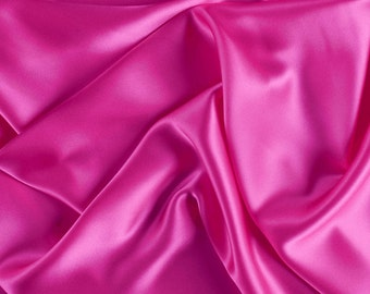 """42"""" Wide Stretch Silk Charmeuse Hot Pink By the Yard"""
