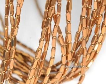 9x3mm Gold Hematite Gemstone Rectangle Tube Loose Beads 16 inch Full Strand (90185738-840)