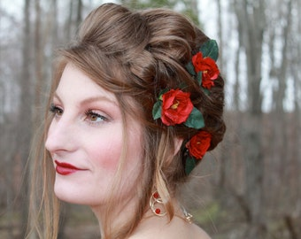 Red Wire Flower hair clips