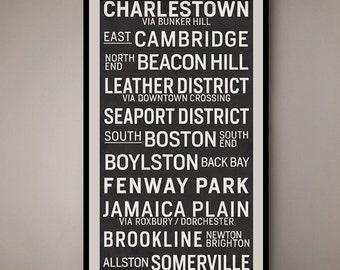 Boston Massachusetts Vintage Transport Art Scroll / Bus Blind 1