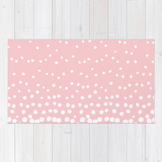 Nice Soft WOVEN AREA RUG New White Ombre Polka Dots Bubbles Pastel Pink Neutral  Modern Girls Baby