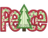 PEACE with Christmas Tree - Christmas Applique Designs - 4 Sizes - INSTANT DOWNLOAD