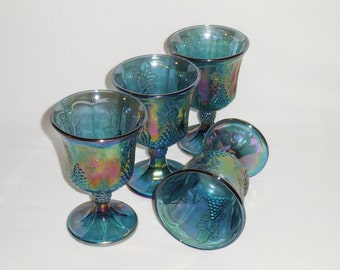 Indiana Iridescent Blue Carnival Glass Goblets, Harvest Grape, Set of 4