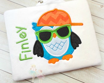 Boys owl shirt - cool owl shirt - baby boys embroidered shirt - little boys - custom embroidery - owl with sunglasses