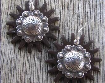 """1.5"""" Concho Rowel Earrings"""