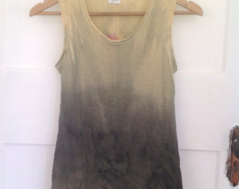 Dip dyed ombre natural plant dyed merino wool singlet SMALL