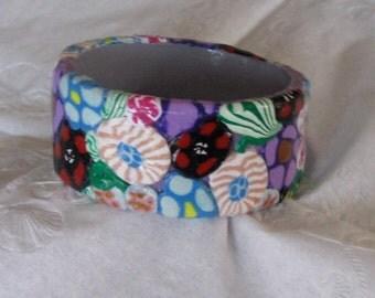 Flower power! Polymer clay flower bangle bracelet