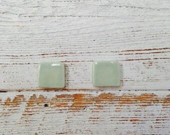 Mint Ceramic Square Earrings, Minimal, Modern, Mint, Unique Gift, Ceramic Jewelry, Ceramics, Minimal Earrings, Fall