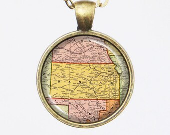 Kansas, United States Map Necklace - State of Kansas -Custom Vintage Map Series