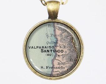 Santiago de Chile Map Necklace, Santiago, Vintage Map Pendant Necklace- Antique Map of Santiago, Old Map Penant Series