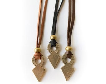Brass Triangle Necklace on Deerskin Leather   Internal Compass Necklace