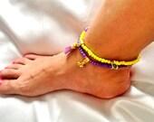 SALE-------GYPSY  ANKLETS -- bohemian anklets - tassel anklets -ethnic anklets - summer anklets