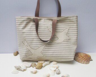 Seagull Canvas tote bag,handmade,organic natural color,summer tote, beach tote, all to carry, shopper,unique,chic