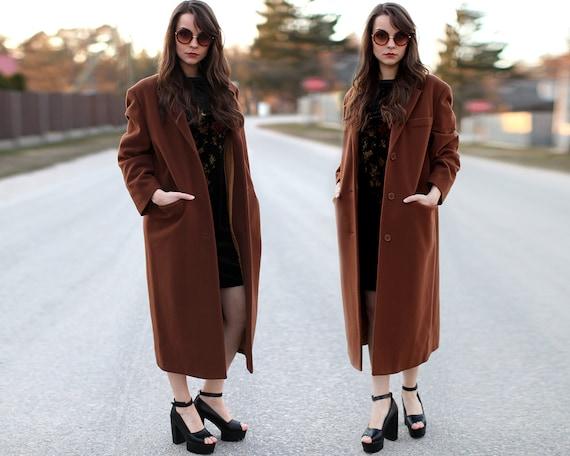 MINIMALIST Brown WOOL 80's Coat Menswear Boyfriend by BetaApparel
