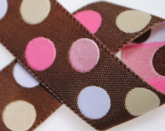 Pink Dot Jacquard Trim 7/8 inch wide - Two, Five, or Ten Yards