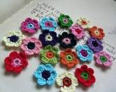 30 Assorted 6-Petal Crochet Flowers