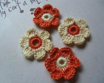 20 Orange and Yellow 6-Petal Crochet Flowers