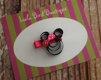 Ribbon Minnie Mouse Hairclip - Minnie Mouse with Hot Pink Bow - Toddler, Child, Baby  - READY TO SHIP