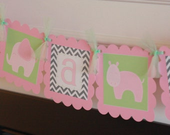 "Baby Shower Pink, Grey & Light Green Chevron Mod Jungle Animal Zoo Giraffe Hippo Lion Elephant ""It's a Girl"" Baby Shower or Birthday Banner"