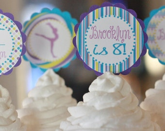 12 Purple Blue Yellow Gymnastics Gymnast Theme Birthday Cupcake or Cake Toppers - Ask About our Party Pack Sale