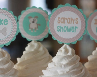 12 Cupcake Toppers - Taupe Brown & Aqua Blue Dog Puppy Animal Theme Baby Shower Cupcake or Cake Toppers- Ask About our Party Pack Sale