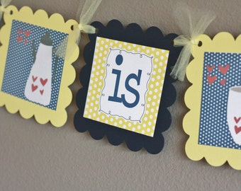 """Navy Yellow Polka Dot """"Love is Brewing"""" Coffee or Beer Theme Wedding Shower Bridal Shower Banner - Ask About Party Pack Specials"""
