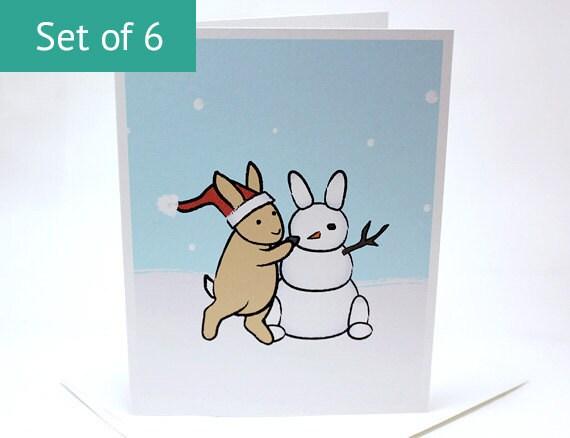 Bunny Christmas Card Set - Snowman Rabbit Cards (Set of 6)