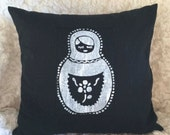 30% OFF SALE - Black Pillow with Hand Screen Printed Black Matryoshka Doll Applique