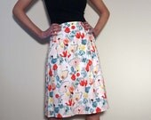 50% OFF SALE - Floral Skirt with Two Inverted Pleats on Front and Back Side - Lined