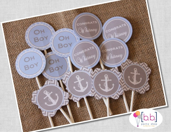 Nautical Baby Shower- 2 inch round Cupcake Toppers, Gray & Blue- Printable or Shipped