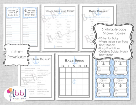 Nautical Baby Shower Games Pack (6 different games)- PRINTABLE- INSTANT DOWNLOAD