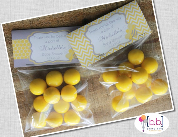 Bee Baby Shower/Gender Reveal Treat Bag Favor Bag Toppers- Yellow and Gray- Printable or Shipped