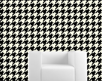 Removable Wallpaper- Houndstooth- Peel & Stick Self Adhesive Fabric Temporary Wallpaper-Repositionable-Reusable- FAST. EASY.