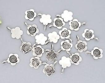 10 Glue on Flower Tibetan Silver Bails Flat Back