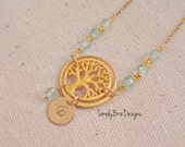 Tree eternity necklace, tree of life pendant, personalized initial monogram jewelry gold tree necklace aquamarine birthstone quartz gift mom