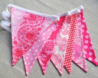 Pretty in Pink fabric banner bunting, birthday party decoration, photo prop, girls room dorm decor