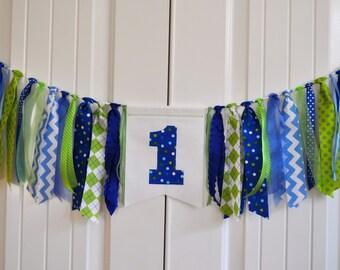Fabric ONE highchair rag banner, Boys blue & green first birthday high chair banner, cake smash photo prop, highchair rag garland