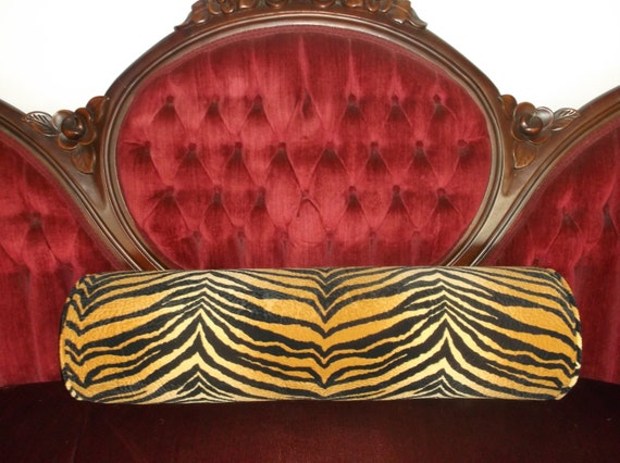 "Bold Gold & Black Large Faux Suede Tiger Neckroll Bolsters, Beautiful Luxe Fabric And Coloring, Foam Filled 29"" Long only 2 Available"
