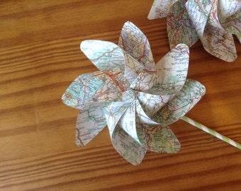 Paper pinwheels map print