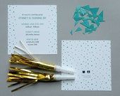 MINT Watercolor Polka Dot Invitation - Printable, DIY, Dalmatian Dots